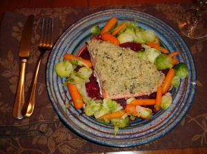 Panko Salmon, Beets, Brussel Sprouts, Carrots
